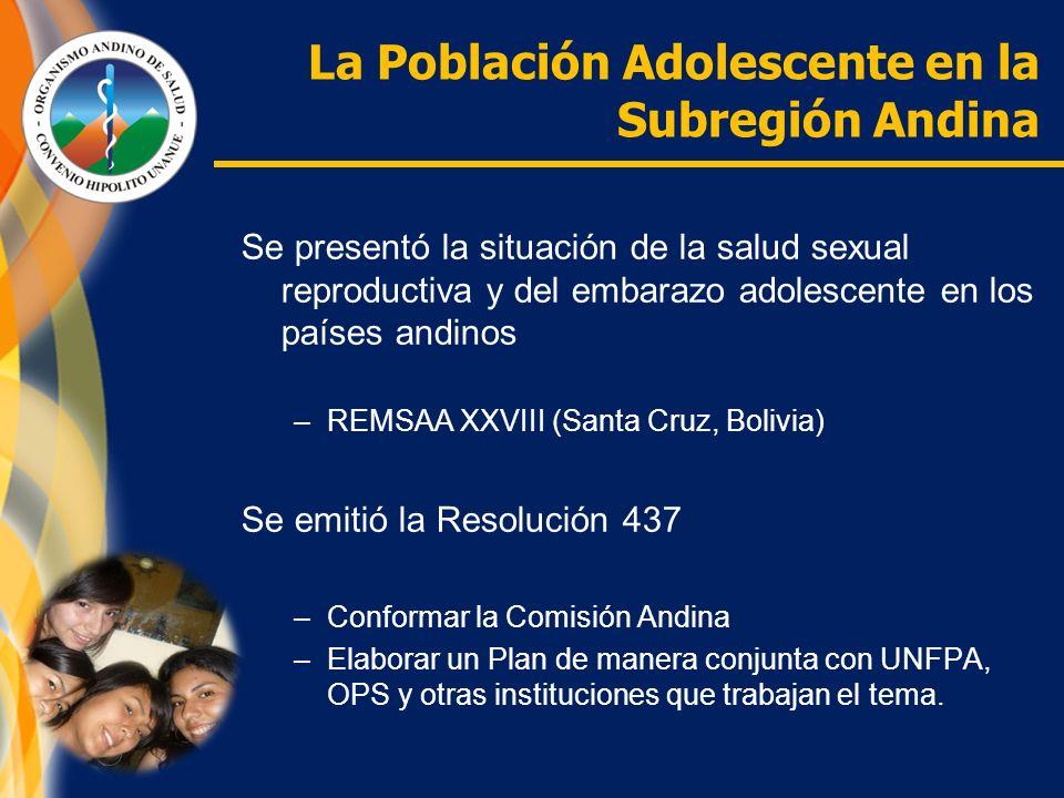 La Población Adolescente en la Subregión Andina