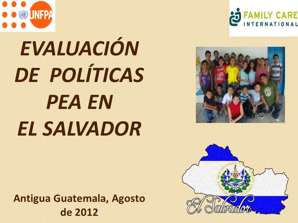 EVALUACIÓN DE POLÍTICAS PEA EN Antigua Guatemala, Agosto de 2012