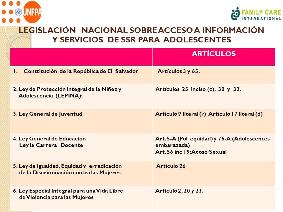 LEGISLACIÓN NACIONAL SOBRE ACCESO A INFORMACIÓN Y SERVICIOS DE SSR PARA ADOLESCENTES