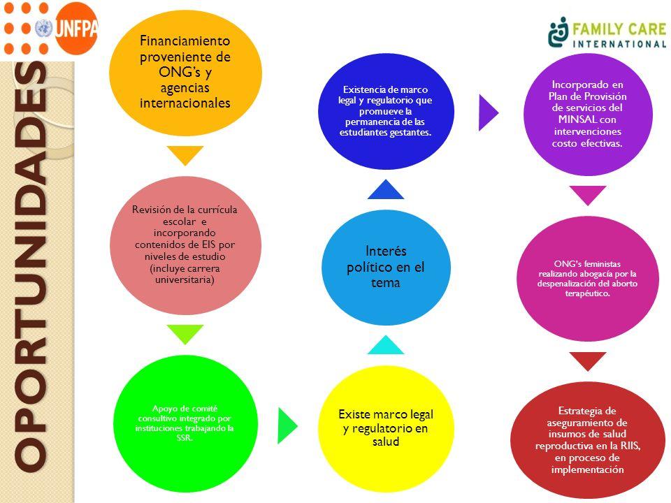 Financiamiento proveniente de ONG's y agencias internacionales
