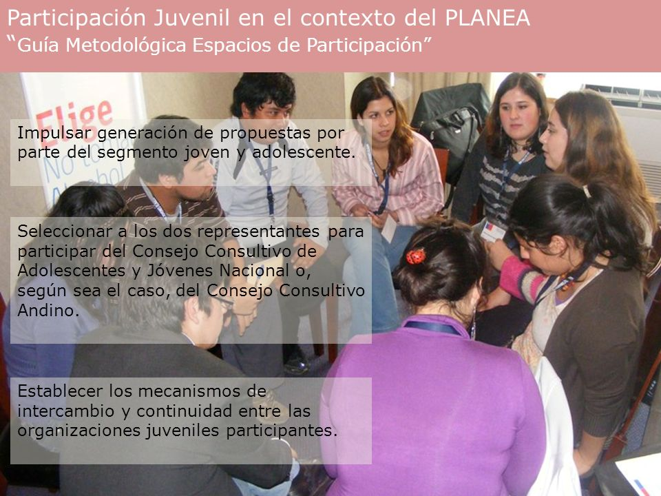 Participación Juvenil en el contexto del PLANEA Guía Metodológica Espacios de Participación