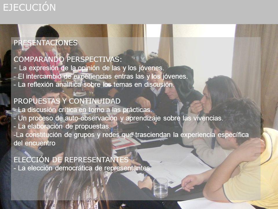 EJECUCIÓN PRESENTACIONES COMPARANDO PERSPECTIVAS: