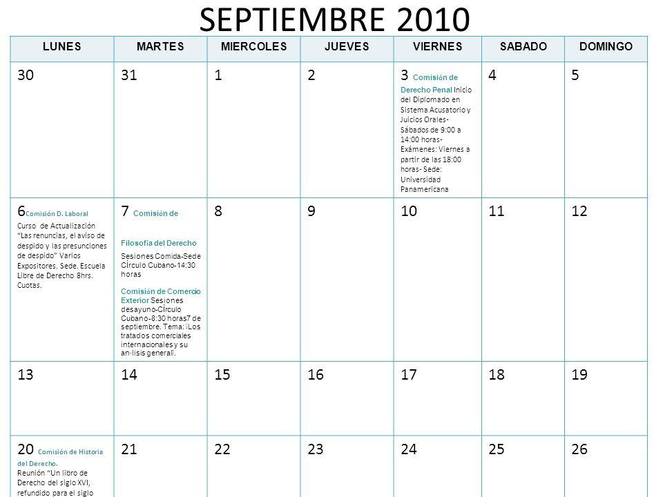 SEPTIEMBRE 2010LUNES. MARTES. MIERCOLES. JUEVES. VIERNES. SABADO. DOMINGO. 30. 31. 1. 2.