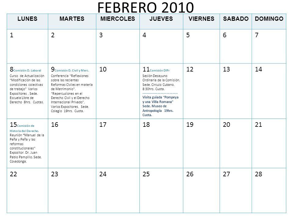 FEBRERO 2010LUNES. MARTES. MIERCOLES. JUEVES. VIERNES. SABADO. DOMINGO. 1. 2. 3. 4. 5. 6. 7.