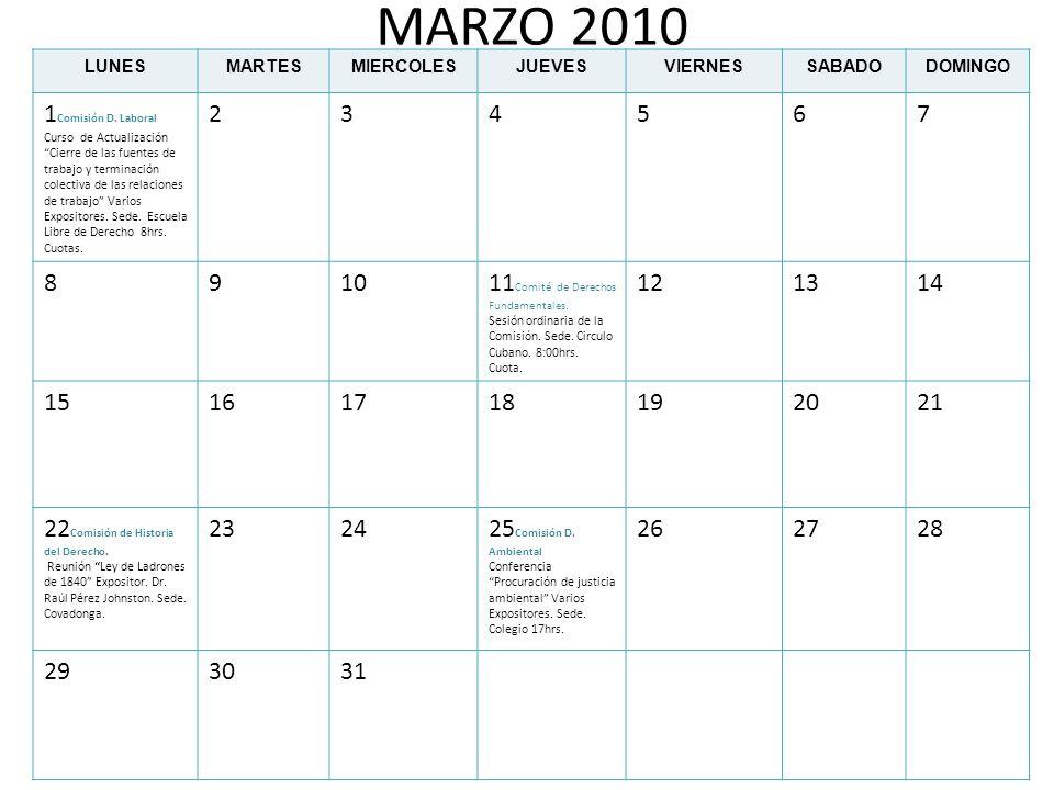 MARZO 2010 1Comisión D. Laboral 2 3 4 5 6 7 8 9 10