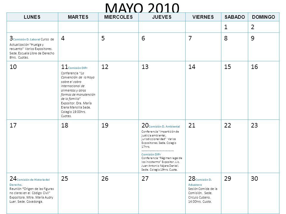 MAYO 2010LUNES. MARTES. MIERCOLES. JUEVES. VIERNES. SABADO. DOMINGO. 1. 2.