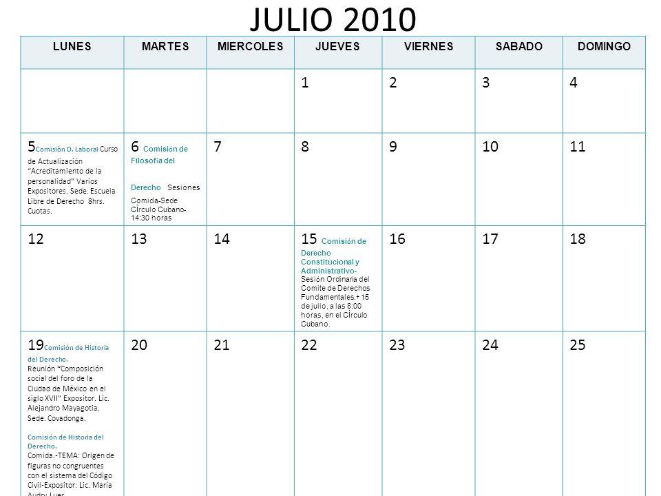 JULIO 2010LUNES. MARTES. MIERCOLES. JUEVES. VIERNES. SABADO. DOMINGO. 1. 2. 3. 4.