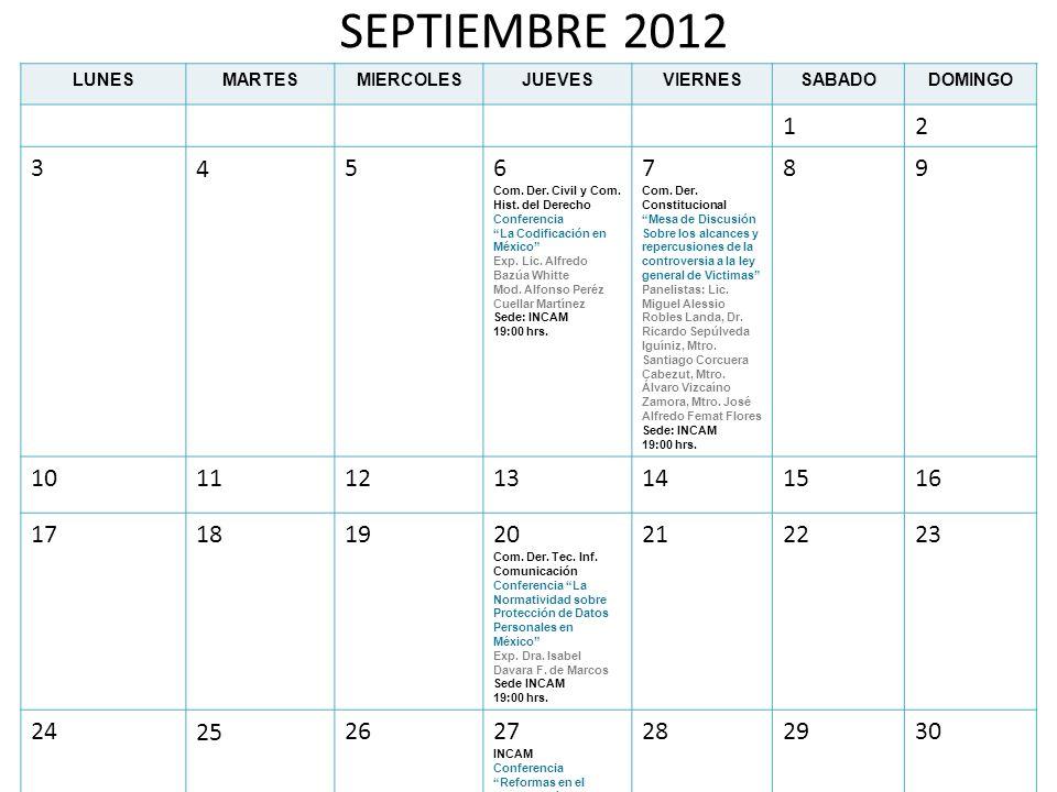 SEPTIEMBRE 2012LUNES. MARTES. MIERCOLES. JUEVES. VIERNES. SABADO. DOMINGO. 1. 2. 3. 4. 5. 6. Com. Der. Civil y Com. Hist. del Derecho Conferencia.