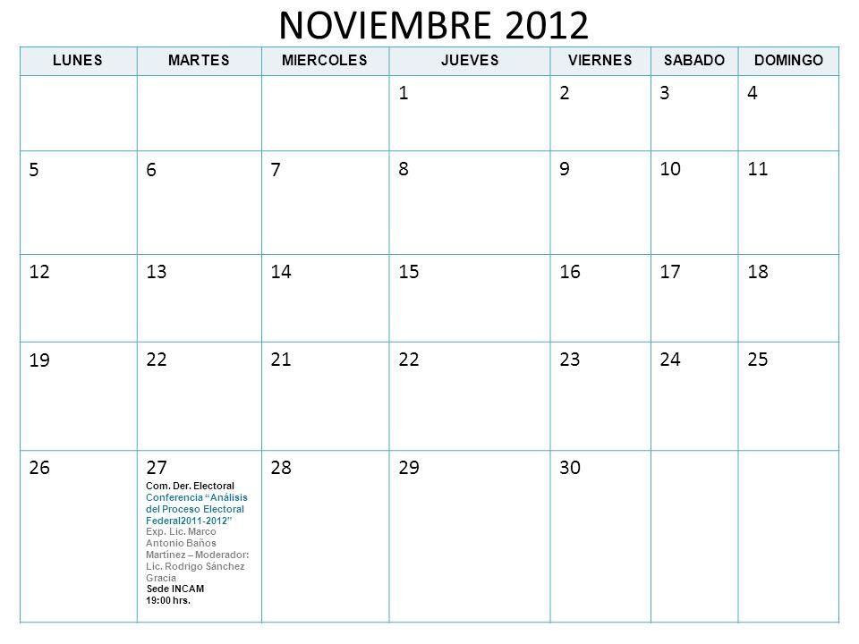 NOVIEMBRE 2012LUNES. MARTES. MIERCOLES. JUEVES. VIERNES. SABADO. DOMINGO. 1. 2. 3. 4. 5. 6. 7. 8. 9.