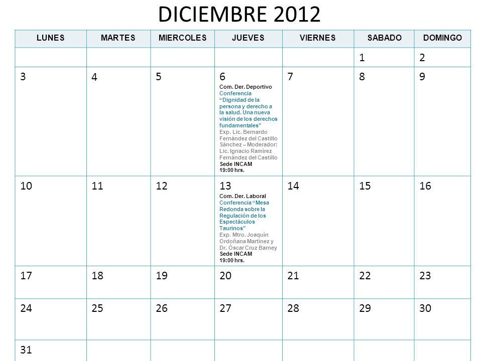 DICIEMBRE 2012LUNES. MARTES. MIERCOLES. JUEVES. VIERNES. SABADO. DOMINGO. 1. 2. 3. 4. 5. 6.