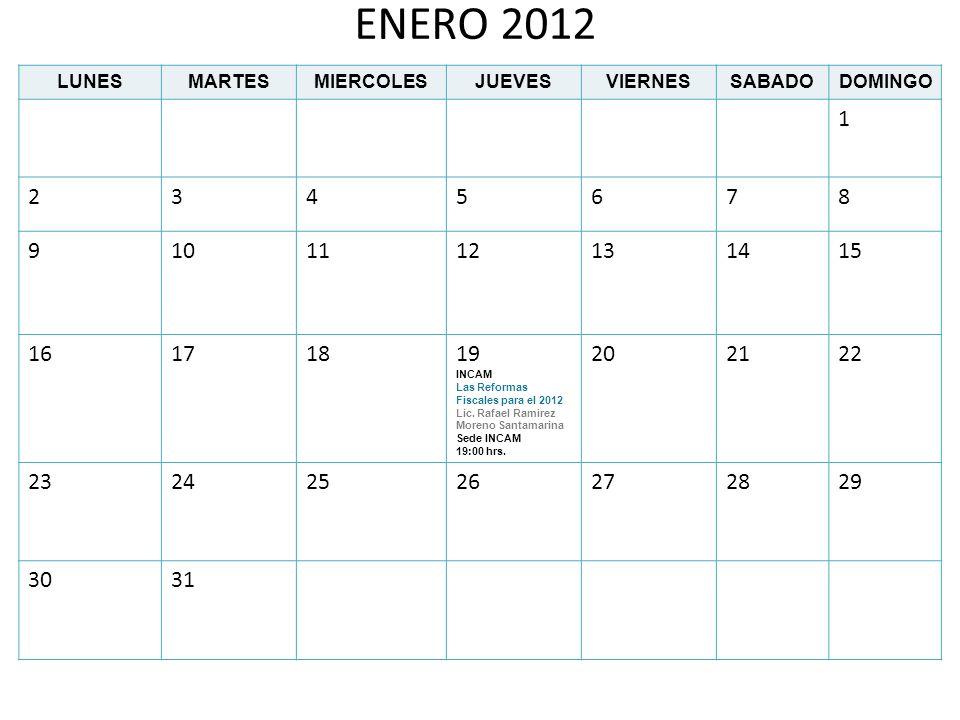 ENERO 2012 LUNES. MARTES. MIERCOLES. JUEVES. VIERNES. SABADO. DOMINGO. 1. 2. 3. 4. 5. 6.