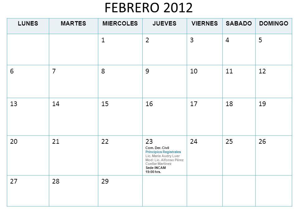 FEBRERO 2012 LUNES. MARTES. MIERCOLES. JUEVES. VIERNES. SABADO. DOMINGO. 1. 2. 3. 4. 5. 6.