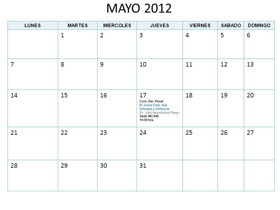 MAYO 2012 LUNES. MARTES. MIERCOLES. JUEVES. VIERNES. SABADO. DOMINGO. 1. 2. 3. 4. 5. 6.