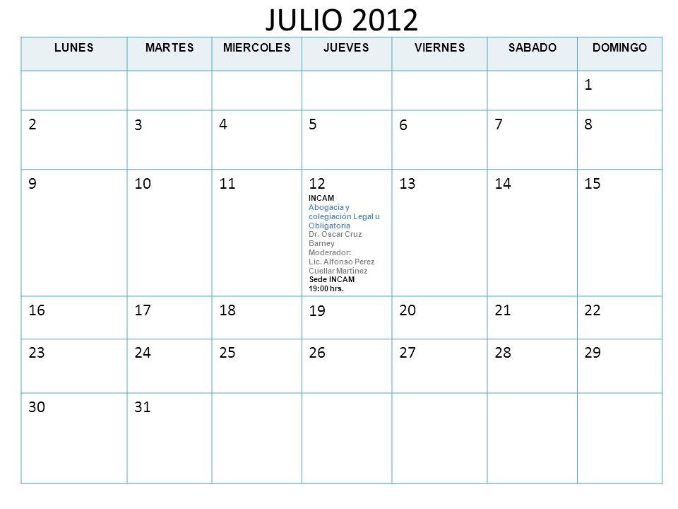JULIO 2012 LUNES. MARTES. MIERCOLES. JUEVES. VIERNES. SABADO. DOMINGO. 1. 2. 3. 4. 5. 6.