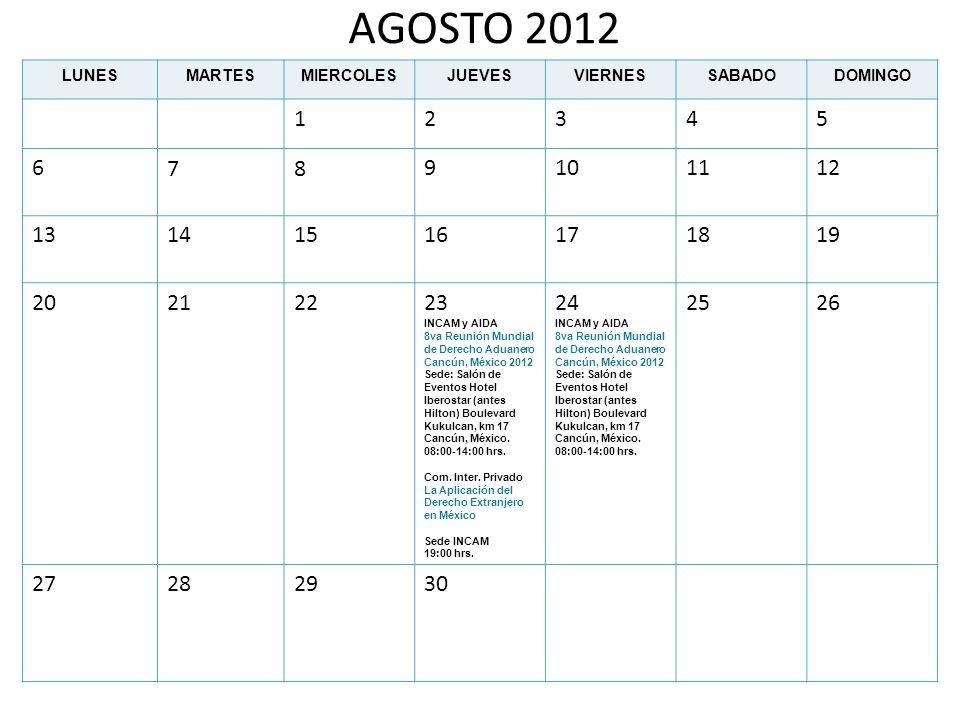 AGOSTO 2012 LUNES. MARTES. MIERCOLES. JUEVES. VIERNES. SABADO. DOMINGO. 1. 2. 3. 4. 5. 6.
