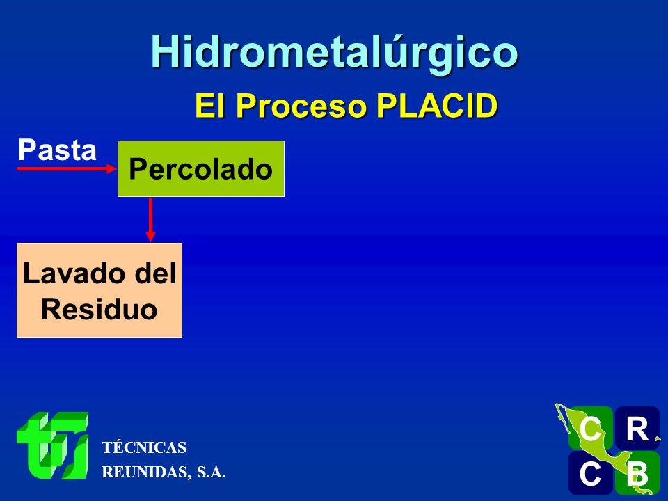 Hidrometalúrgico El Proceso PLACID R C B Pasta Percolado Lavado del