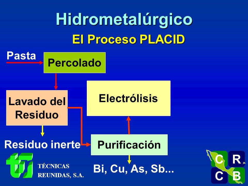 Hidrometalúrgico El Proceso PLACID R C B Pasta Percolado Electrólisis