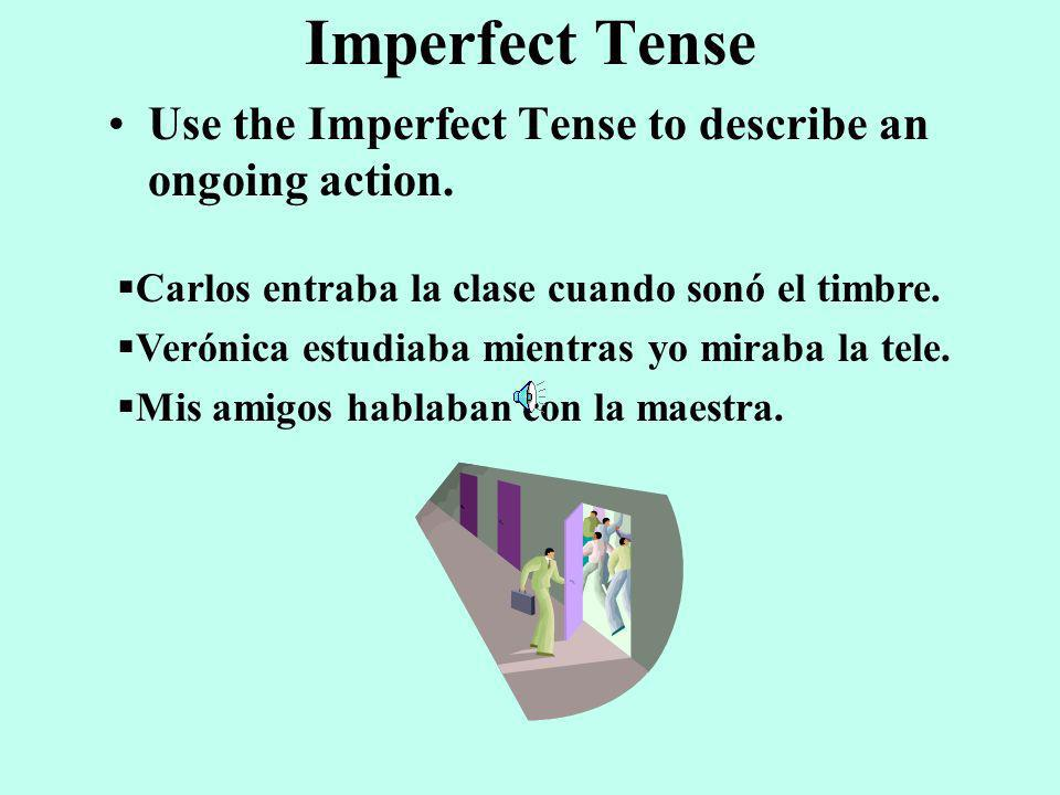 Imperfect Tense Use the Imperfect Tense to describe an ongoing action.