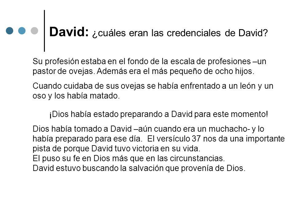 David: ¿cuáles eran las credenciales de David