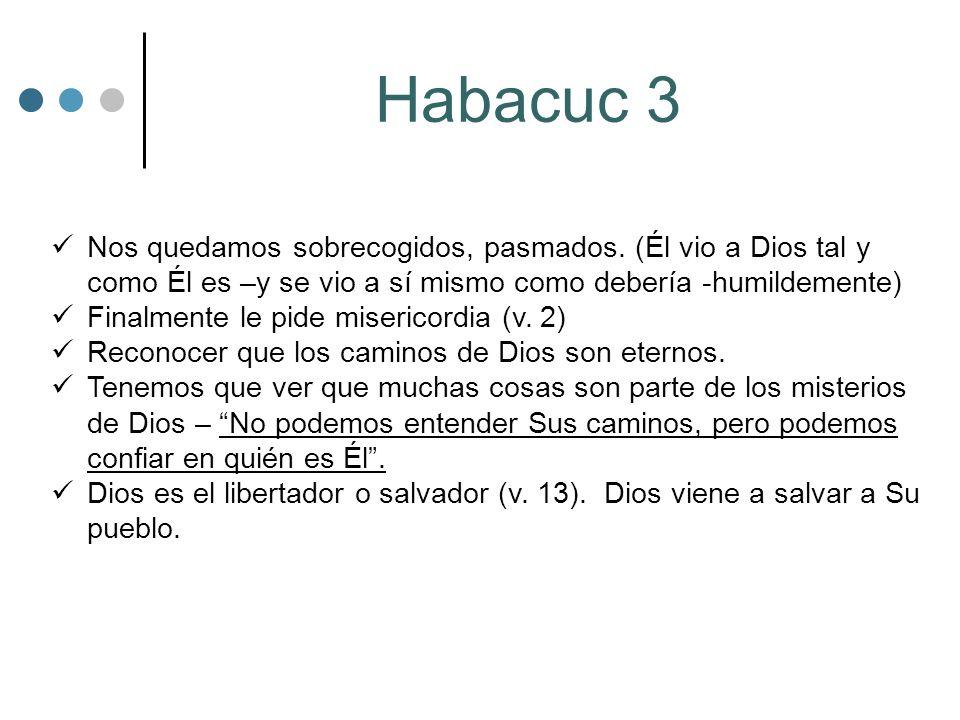 Habacuc 3 Nos quedamos sobrecogidos, pasmados. (Él vio a Dios tal y como Él es –y se vio a sí mismo como debería -humildemente)