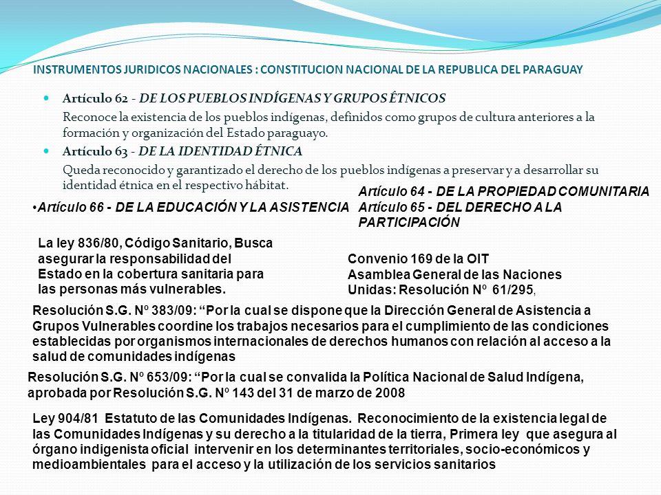 INSTRUMENTOS JURIDICOS NACIONALES : CONSTITUCION NACIONAL DE LA REPUBLICA DEL PARAGUAY