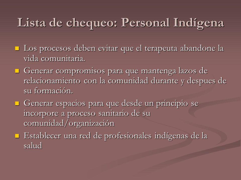 Lista de chequeo: Personal Indígena