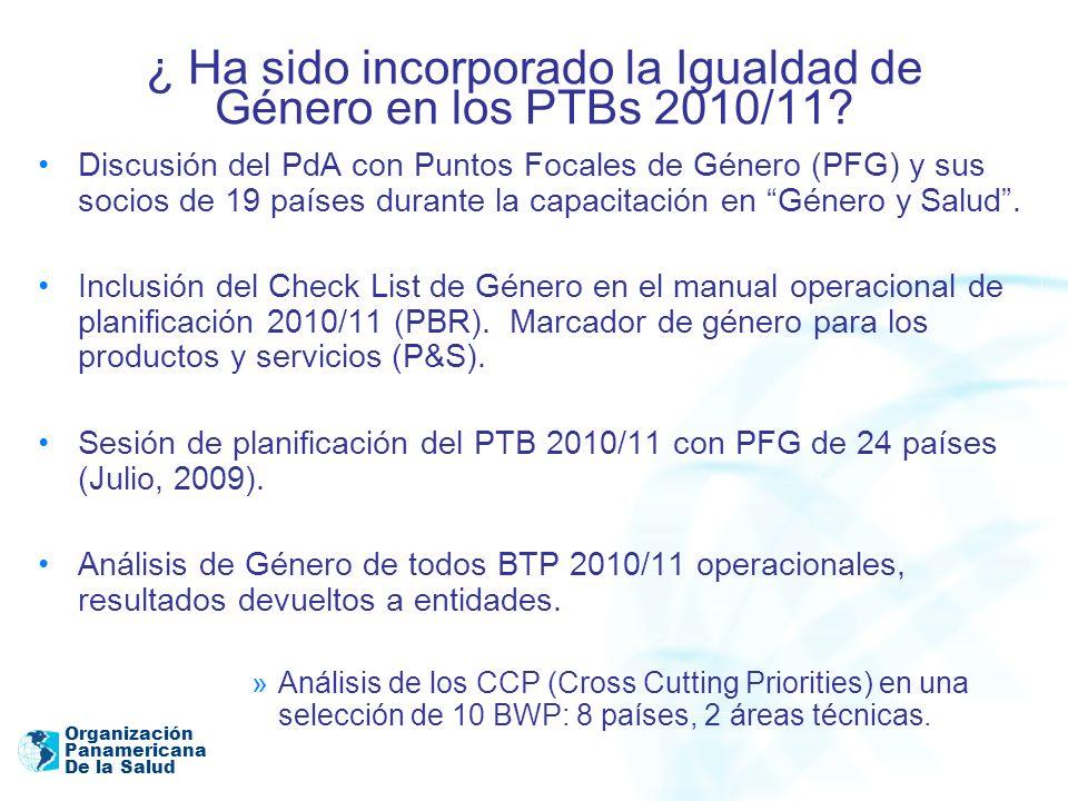 ¿ Ha sido incorporado la Igualdad de Género en los PTBs 2010/11