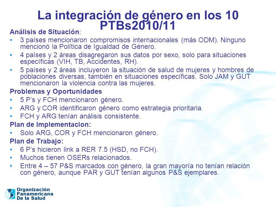 La integración de género en los 10 PTBs2010/11