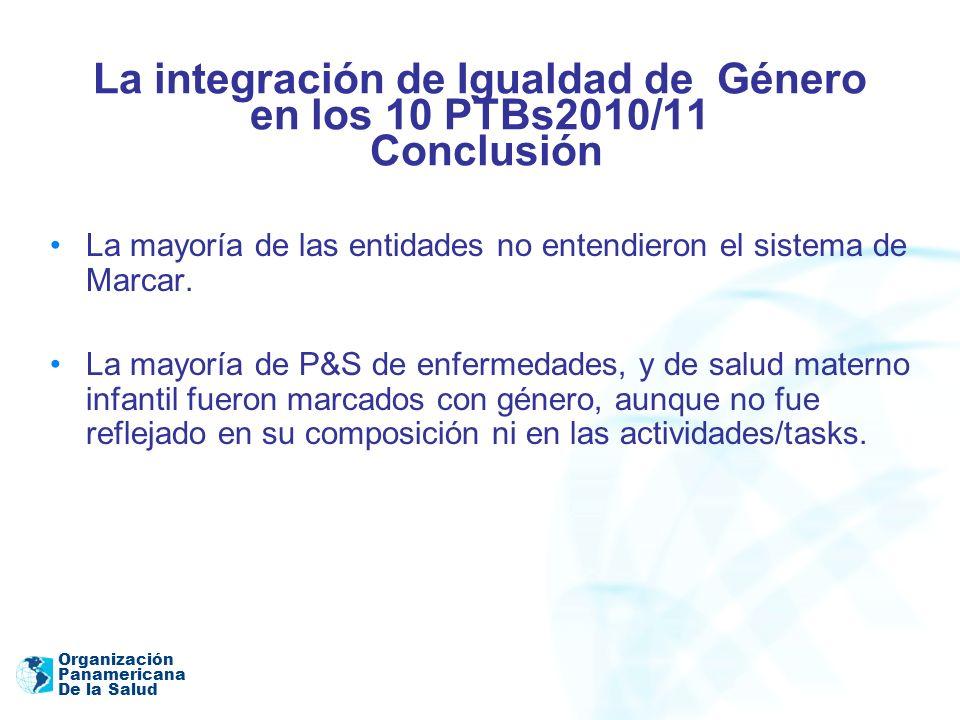 La integración de Igualdad de Género en los 10 PTBs2010/11 Conclusión