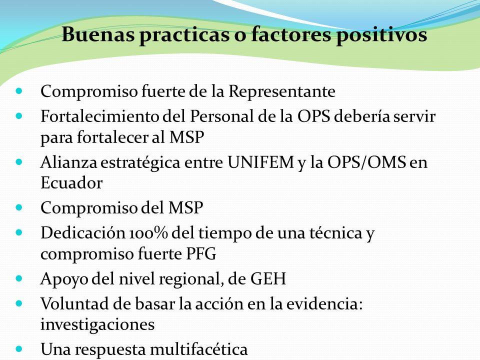 Buenas practicas o factores positivos