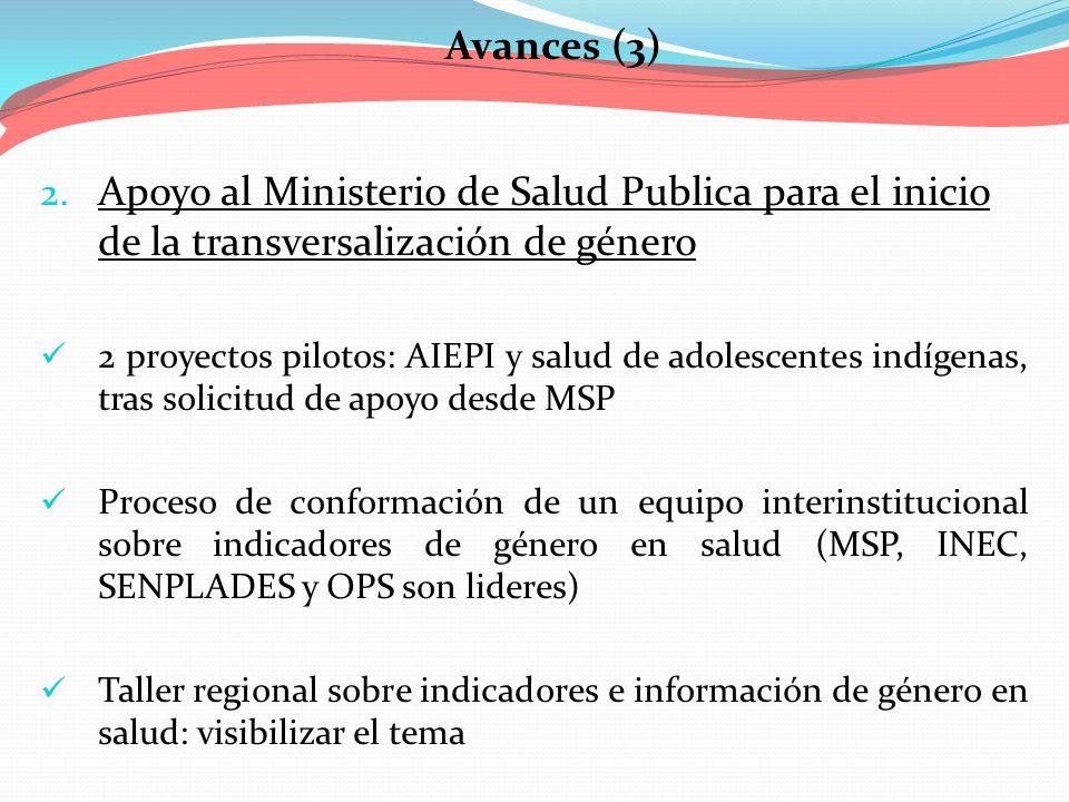 Avances (3) Apoyo al Ministerio de Salud Publica para el inicio de la transversalización de género.