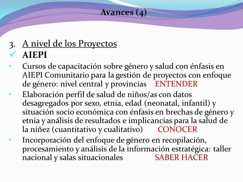 A nivel de los Proyectos AIEPI