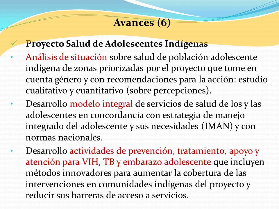 Avances (6) Proyecto Salud de Adolescentes Indígenas