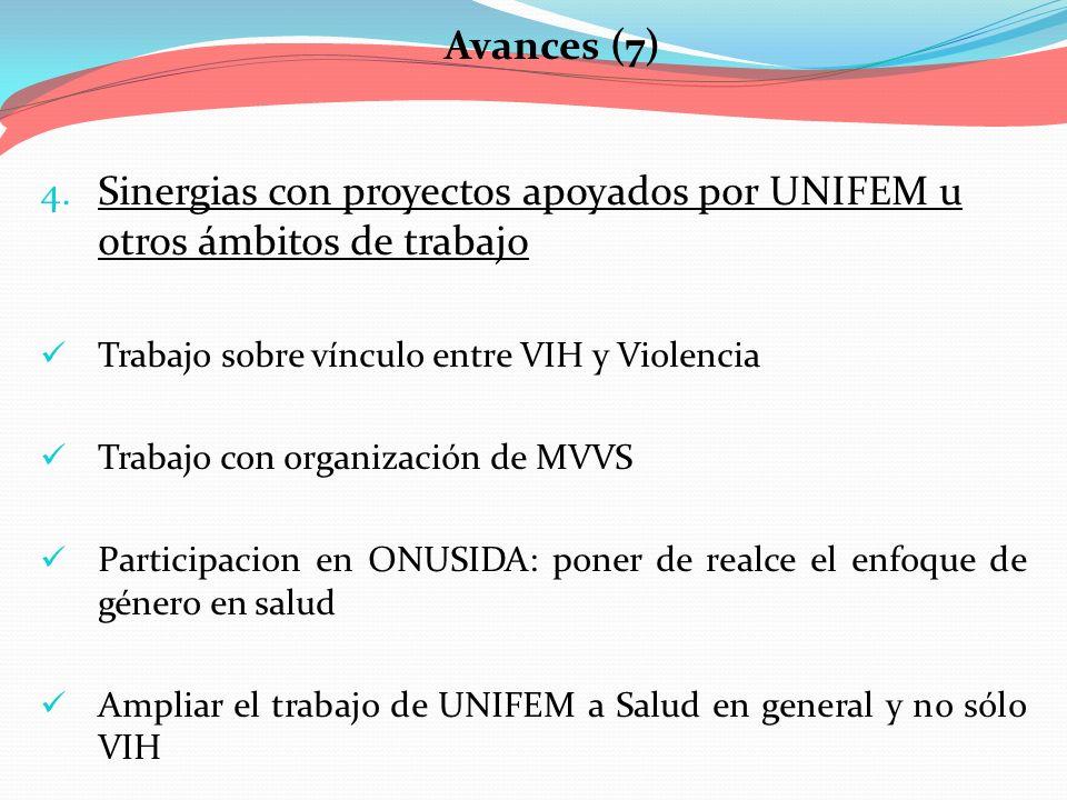 Sinergias con proyectos apoyados por UNIFEM u otros ámbitos de trabajo
