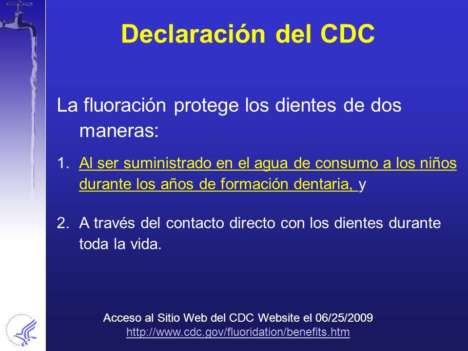 Declaración del CDC La fluoración protege los dientes de dos maneras: