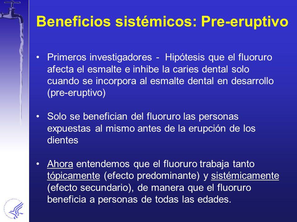Beneficios sistémicos: Pre-eruptivo
