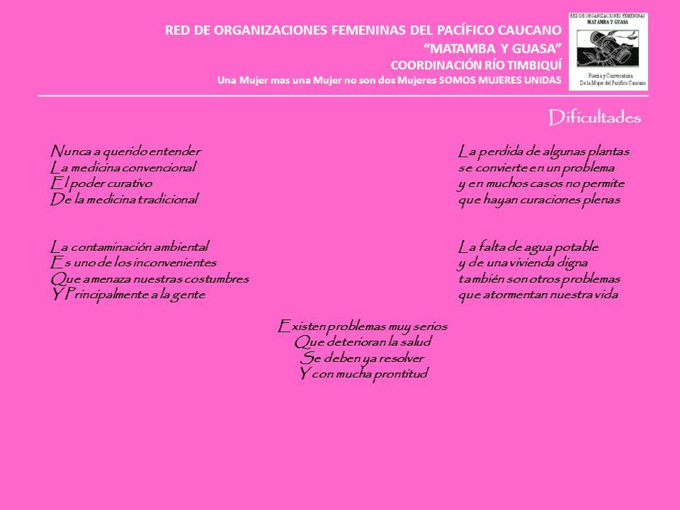 Dificultades RED DE ORGANIZACIONES FEMENINAS DEL PACÍFICO CAUCANO