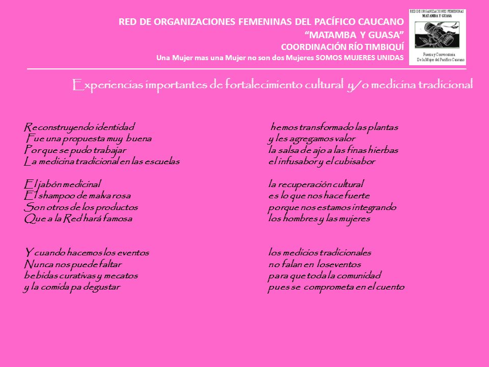 RED DE ORGANIZACIONES FEMENINAS DEL PACÍFICO CAUCANO