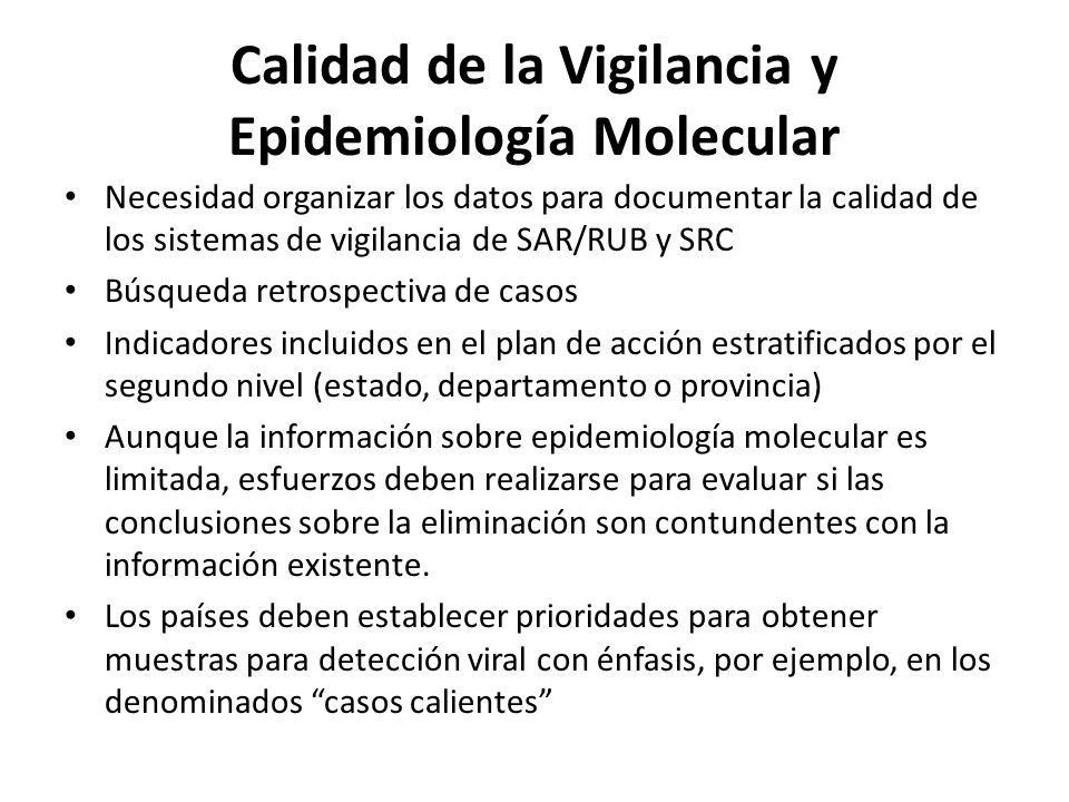Calidad de la Vigilancia y Epidemiología Molecular