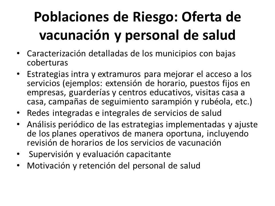 Poblaciones de Riesgo: Oferta de vacunación y personal de salud