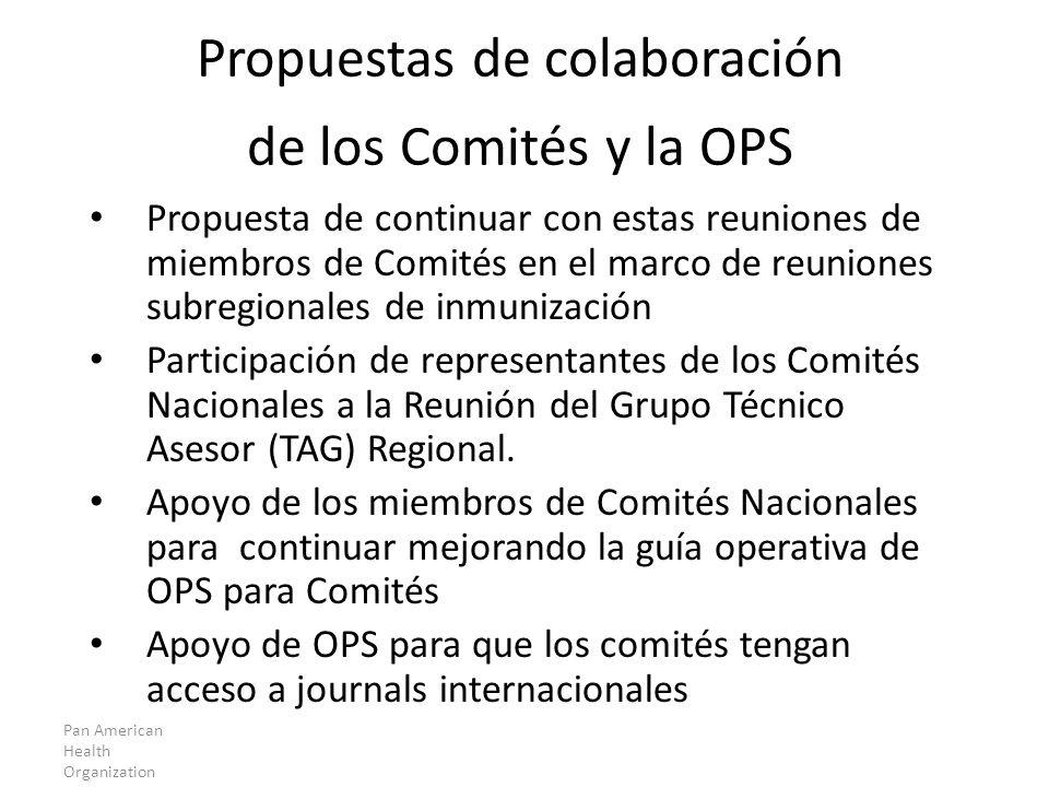 Propuestas de colaboración de los Comités y la OPS