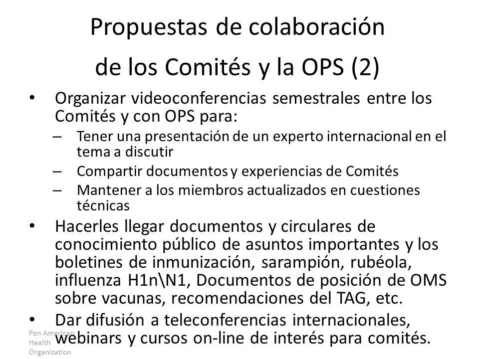 Propuestas de colaboración de los Comités y la OPS (2)