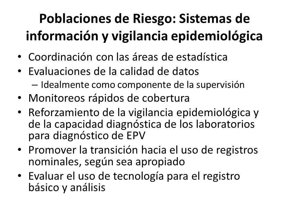 Poblaciones de Riesgo: Sistemas de información y vigilancia epidemiológica
