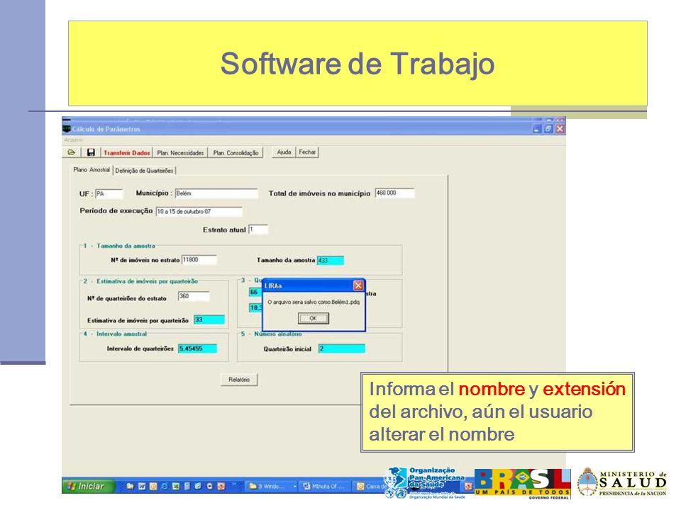 Software de Trabajo Informa el nombre y extensión