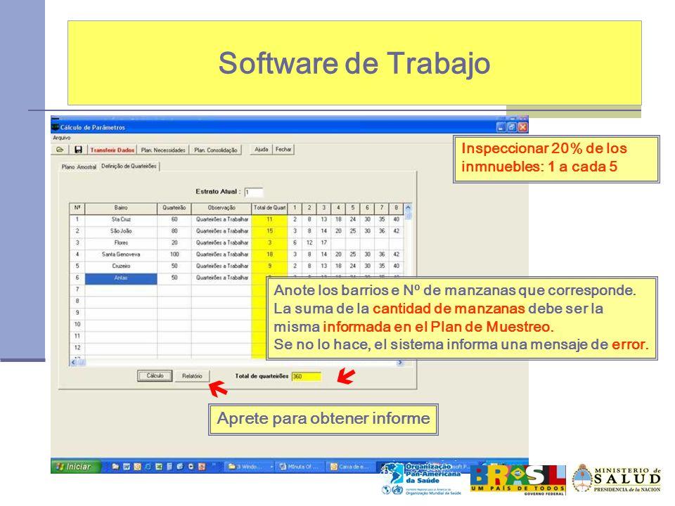 Software de Trabajo   Aprete para obtener informe
