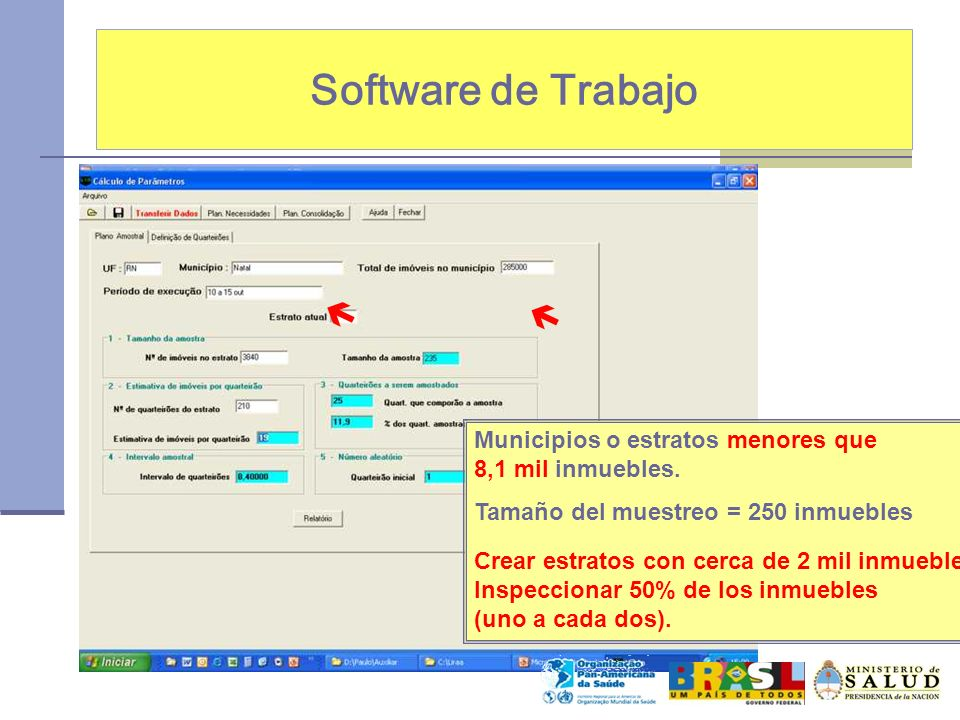 Software de Trabajo   Municipios o estratos menores que