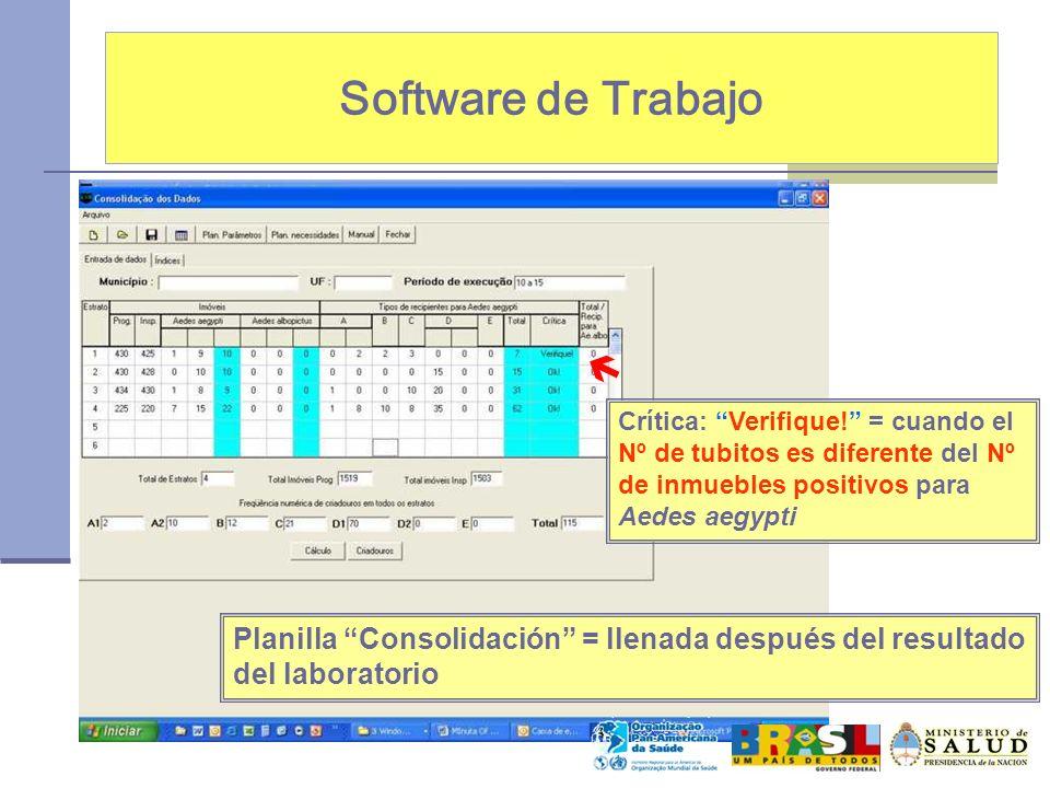 Software de Trabajo  Crítica: Verifique! = cuando el Nº de tubitos es diferente del Nº de inmuebles positivos para Aedes aegypti.
