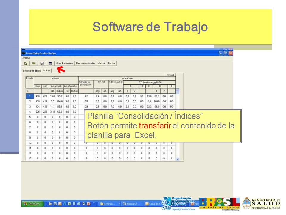 Software de Trabajo  Planilla Consolidación / Índices