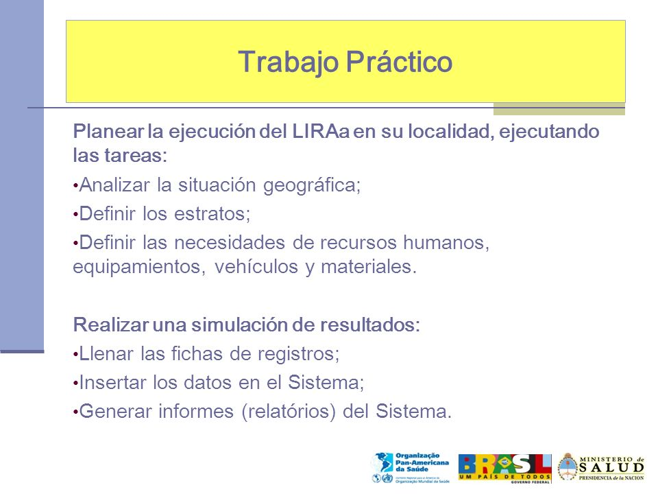 Trabajo Práctico Planear la ejecución del LIRAa en su localidad, ejecutando las tareas: Analizar la situación geográfica;