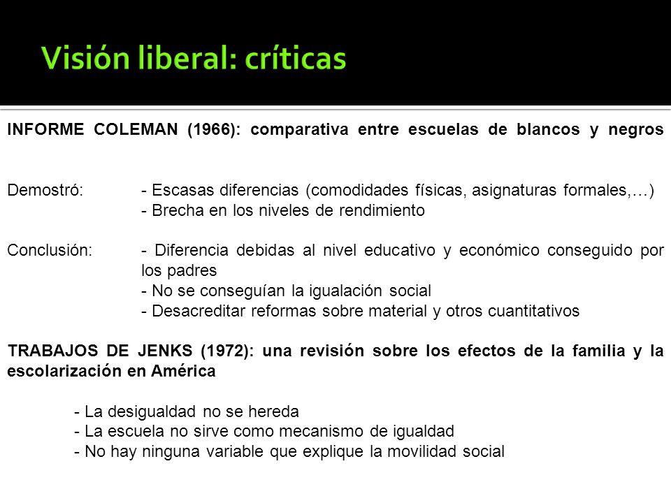 Visión liberal: críticas